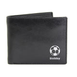 Personalised Football Black/Tan Leather Wallet