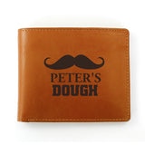 Personalised Moustache Black/Tan Leather Wallet