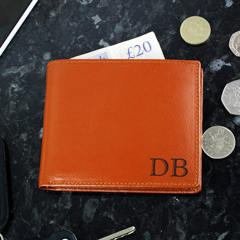 Personalised Initials Black/Tan Leather Wallet