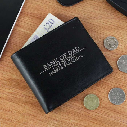 Personalised Classic 'Any Message' Black/Tan Leather Wallet