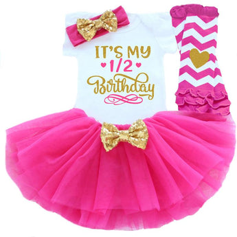 Baby Fashion Birthday Set for 1/2 Birthday Celebrations includes bodysuit, tutu skirt, leg warmers and matching headband
