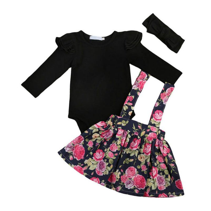 Bodysuit & Floral Suspender Skirt with Headband