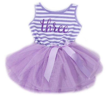 3 Year Birthday Sleeveless Dress - Purple