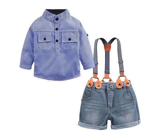 Striped Polo and Suspender Shorts Set