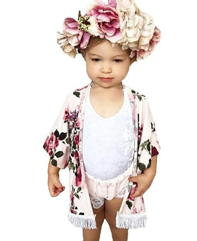 Baby and Toddler Size Floral Kimono Cardigan Shawl Wrap Top with white tassel details at the bottom. Open front and flowy.