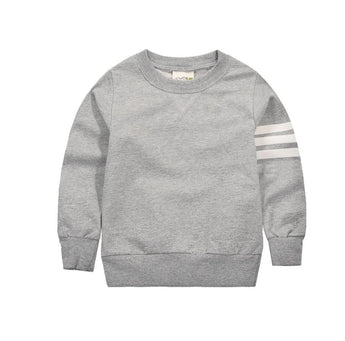 Gray Striped Sleeve Pullover