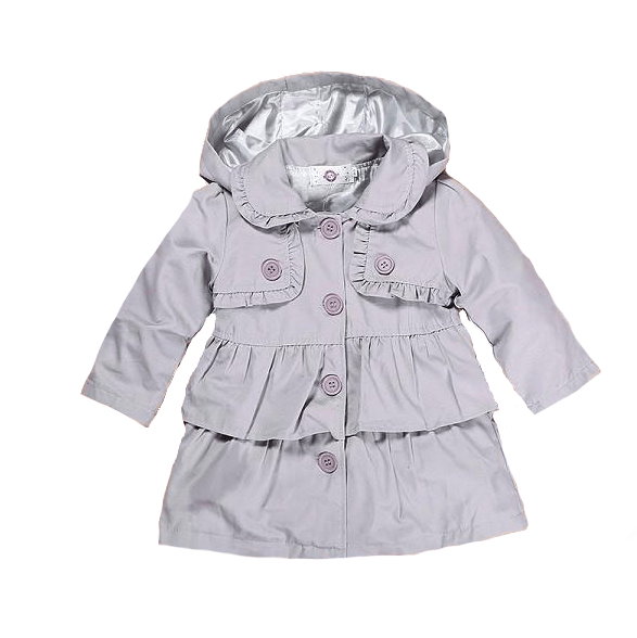 Baby fashion coats light gray with layers of ruffles, button up front and detachable hood