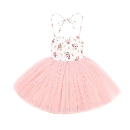 Cute Toddler Dress with pink full tulle skirt and a rose printed bodice