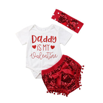 Baby girl 3 piece valentine's day set with bodysuit, sequin bloomers and matching sequin bow headband