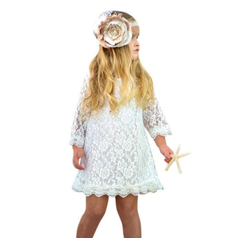 Boho Baby Clothes Lace Dress in White Pink or Red