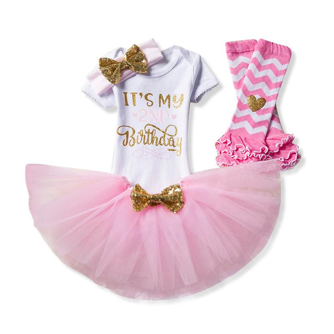 Baby Toddler Fashion Birthday Set for 2nd Birthday Celebrations includes bodysuit, tutu skirt, leg warmers and matching headband
