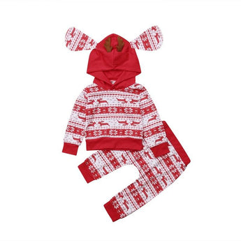 Baby Christmas outfit 2 piece hoodie set with reindeer patter, hooded top with floppy ears and antlers