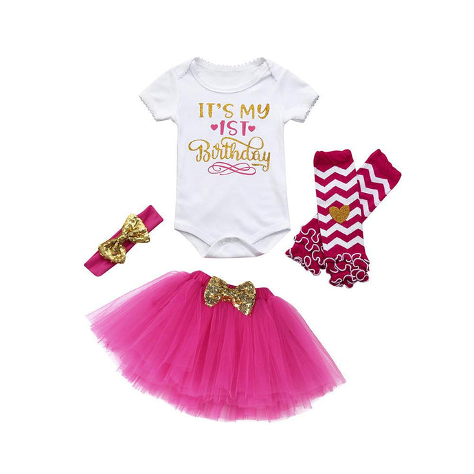 Baby Fashion Birthday Set for 1st Birthday Celebrations includes bodysuit, tutu skirt, leg warmers and matching headband