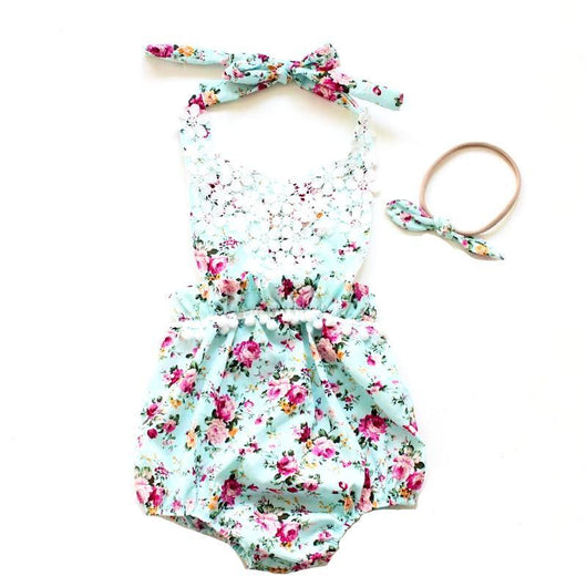 Baby Romper Flower Girl Beautiful Blue Floral Pattern with white lace and tassels includes matching headband