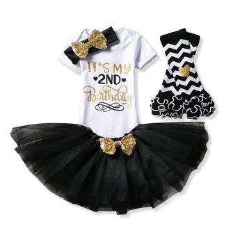 Baby Fashion Birthday Set for 2nd Birthday Celebrations includes bodysuit, tutu skirt, leg warmers and matching headband