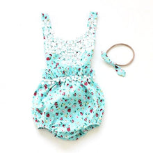 Baby Romper Flower Girl Beautiful Spring Blue Floral Pattern with white lace and tassels includes matching headband