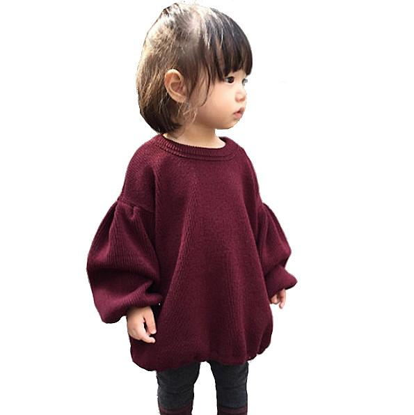 Trendy Baby Clothes. Lantern Sleeve sweater available in Maroon or Princess Pink. Ribbed knit, oversized fit, and always trendy.