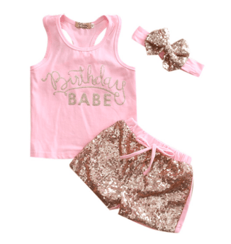 Birthday Babe Tank, Sparkle Shorts & Headband