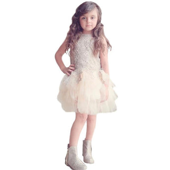 Party Dress for toddlers and little girls. Beautiful lace, sequin and tulle combine to make the perfect party dress
