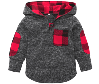 Gray hooded top with plaid print inside hood and on accent pocket and elbow pads
