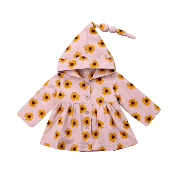 Little Girl Outfits. The cutest bright and cheery sunflower print jacket. Light weight. Button up front. Cute hood with crown border.