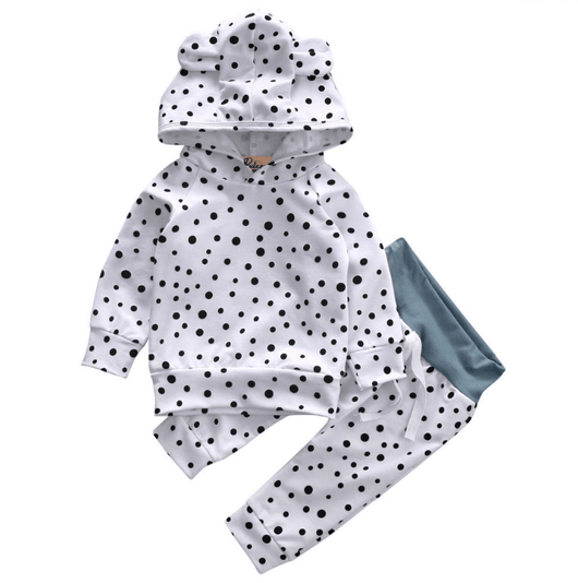 Baby Girl Winter Clothes Dot Hooded Top and Matching Pants