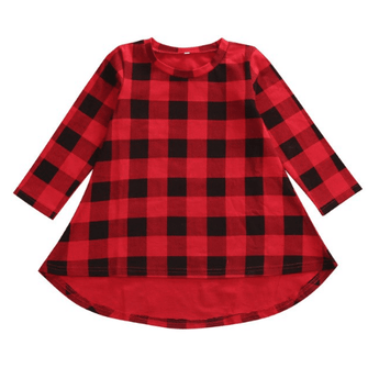 Cute baby girl dress and trendy toddler clothes. Red and black checker plaid print long sleeve high low dress.