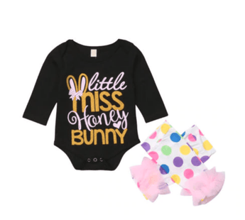 Baby Girl Easter Outfit Long Sleeve Little Miss Honey Bunny Bodysuit with Polka Dot Leg Warmers