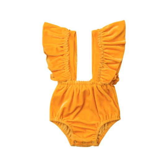 Yellow Orange Velvet Romper with butterfly sleeves and bow decoration