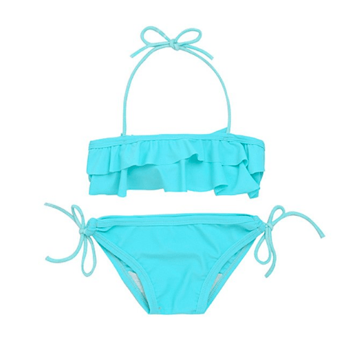 Bright aqua blue 2 piece bikini set for baby girls.