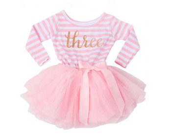 Striped long sleeve 3 year birthday dress with gold glitter Three lettering