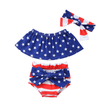 Flag Crop Top, Bloomers & Headband