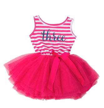 Striped Hot Pink Birthday Tutu Dress 3 Year Party Dress One Piece Complete Outfit