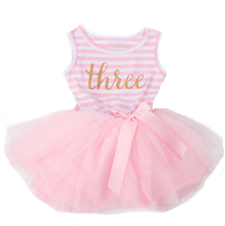 Striped Light Pink Birthday Tutu Dress 3 Year Party Dress One Piece Complete Outfit