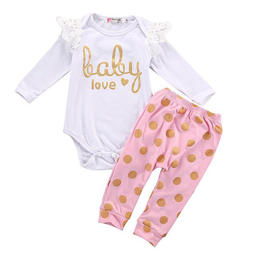 Baby Love Long Sleeve Onesie and Polkadot Pants