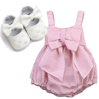 Baby Pink Bow Romper Moccasin Set