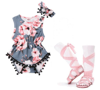 Dreamy Floral Romper & Headband Bundle Set