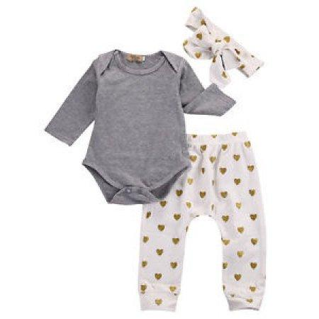Baby Fashion solid gray bodysuit with white pants adorned with gold glitter heart polka dot print and matching bow wrap headband.
