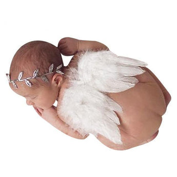 Angel Feather Wings & Newborn Leaves Headband Set