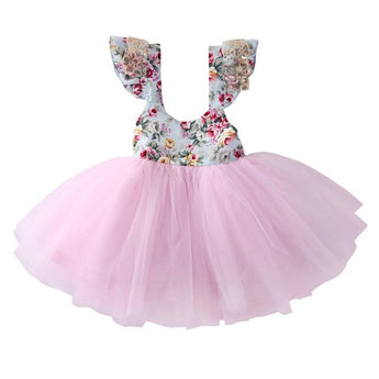 Cute Baby Dress for weddings birthdays and more. Floral bodice with full tulle skirt and lace and sequin details on sleeves.
