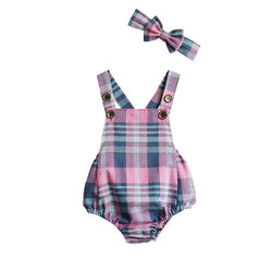 Pink, Purple and Blue checker plaid print romper with matching bow headband