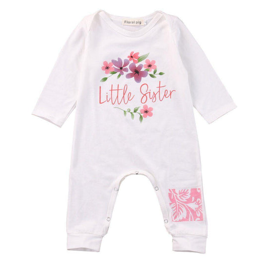 Baby Girl Romper Little Sister coming home outfit.
