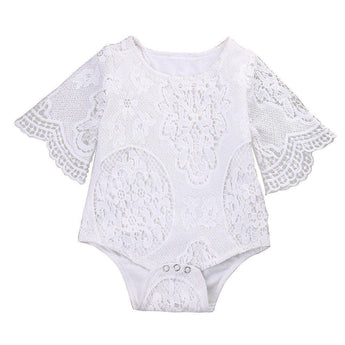 Affordable Baby Clothes that look high end. That's what you have in this 3/4 lace sleeve romper in white