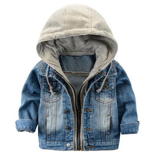 Baby Fashion Denim Hooded Jacket with hoodie lining