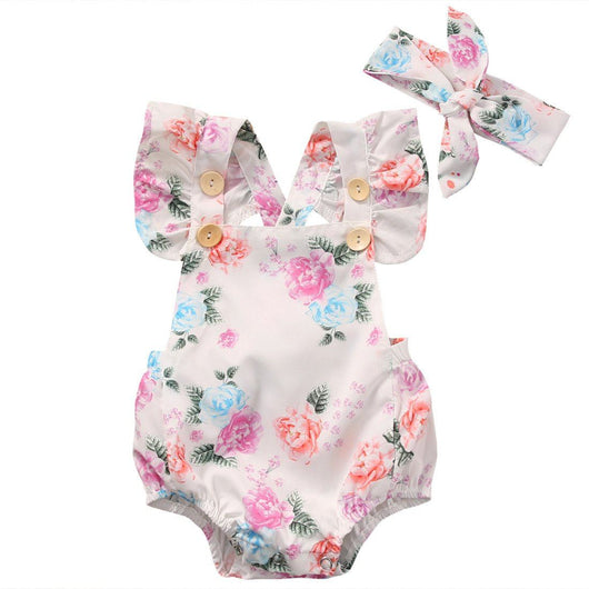 Trendy baby clothes floral romper and matching headband