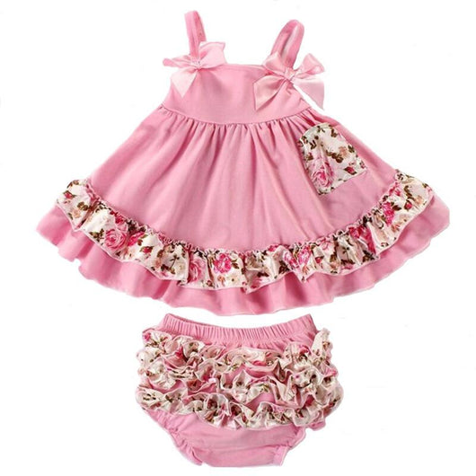 Little Girl Outfits with Ruffles, Ribbons, and Floral Prints. 2 piece ruffle dress top and bloomers set
