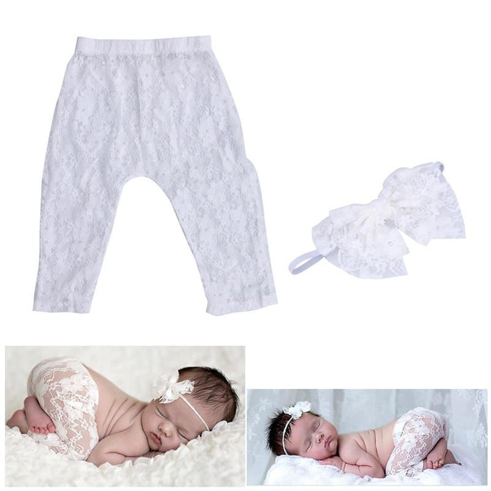 Newborn Lace Leggings & Bow Headband