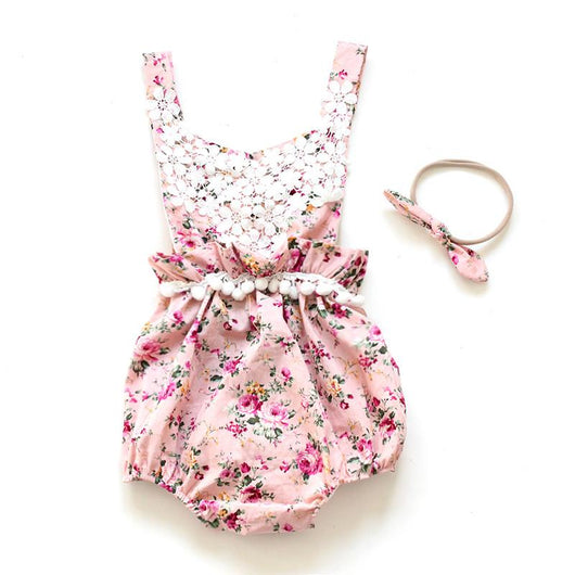 Baby Romper Flower Girl Beautiful Pink Floral Pattern with white lace and tassels includes matching headband