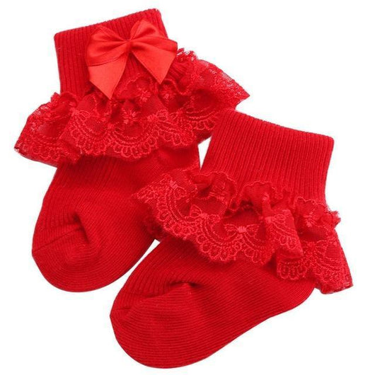 Lace Ruffle Socks - Red