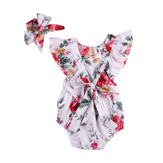 Floral Backless Romper & Headband